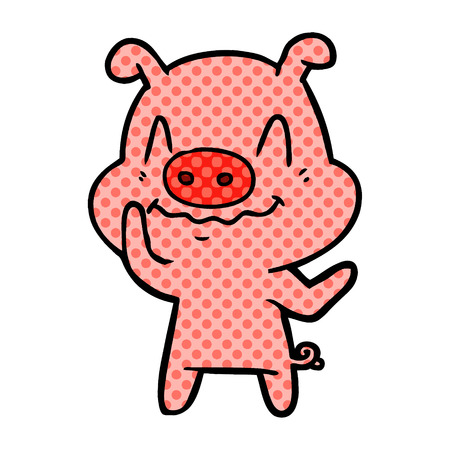 A nervous cartoon pig isolated on white background.