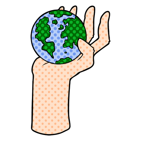 A cartoon hand holding whole earth isolated on white background. Иллюстрация