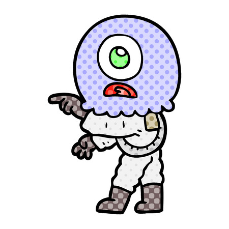 A cartoon cyclops alien spaceman pointing isolated on white background.