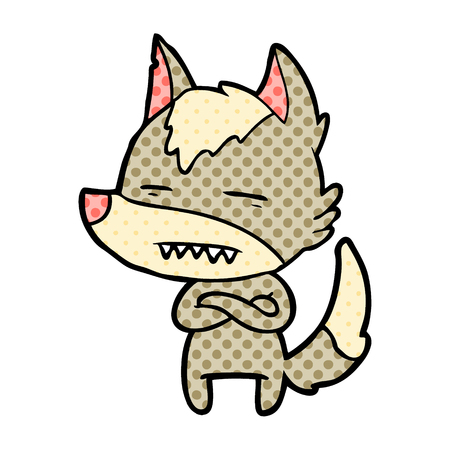 A cartoon wolf showing teeth isolated on white background.