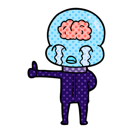 A cartoon big brain alien crying but giving thumbs up symbol isolated on white background. Vettoriali