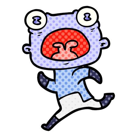 Un alieno strano cartone animato scappando isolato su sfondo bianco.