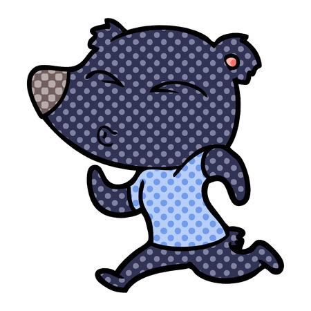 漫画ジョギングクマ  イラスト・ベクター素材