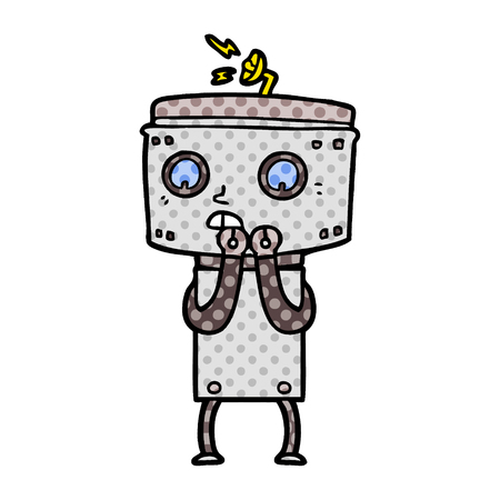 nervous cartoon robot 일러스트