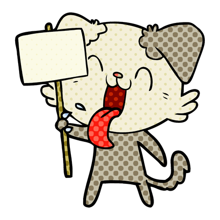 cartoon panting dog Illustration
