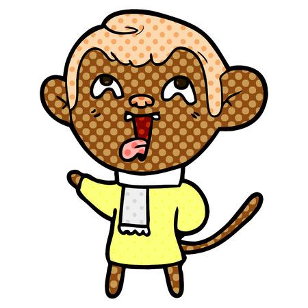 crazy cartoon monkey wearing scarf
