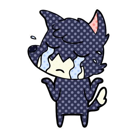 crying fox shrugging shoulders Vector illustration.