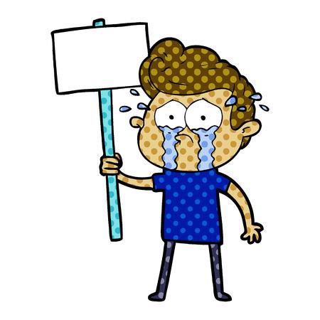 cartoon crying protester Stock Vector - 95589088