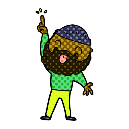 man with beard sticking out tongue Ilustração