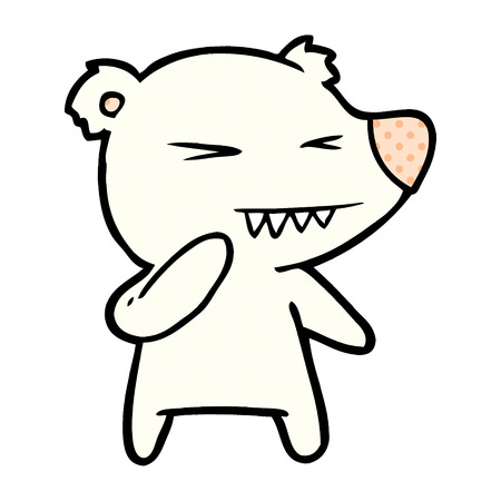 angry polar bear cartoon Illustration