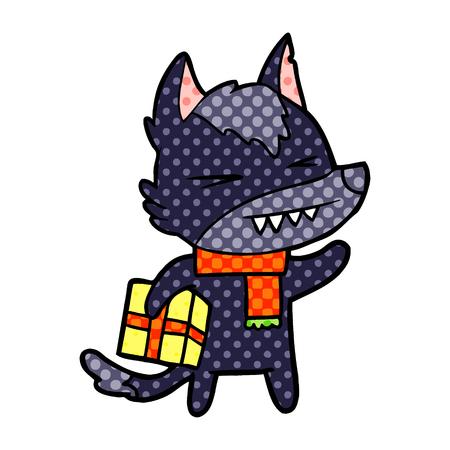 angry christmas wolf cartoon Stock Vector - 95839922