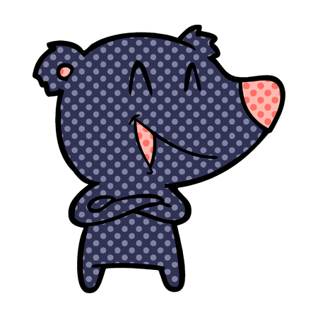 laughing bear with crossed arms cartoon Illustration