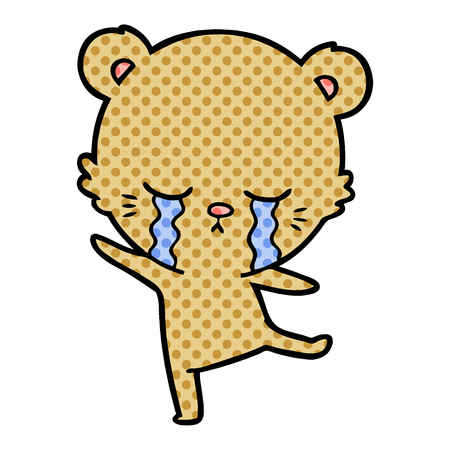 crying cartoon bear balancing Ilustrace