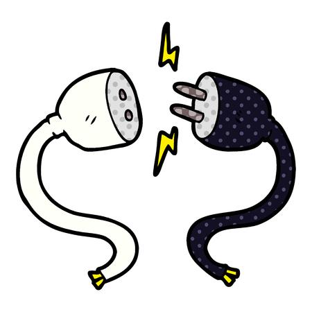 Cartoon plug and socket Illustration