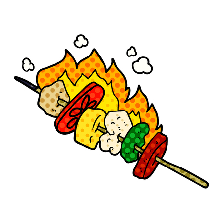 cartoon kebab sticks Vector illustration. Çizim