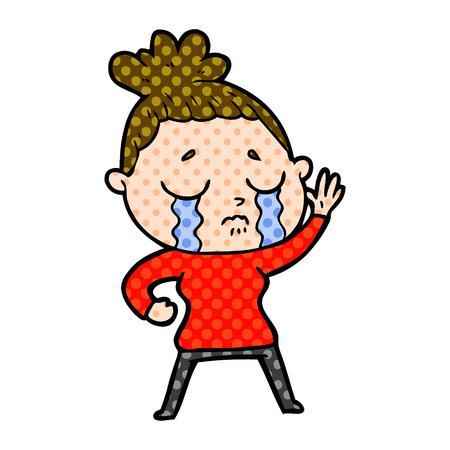 Cartoon crying woman Ilustracja