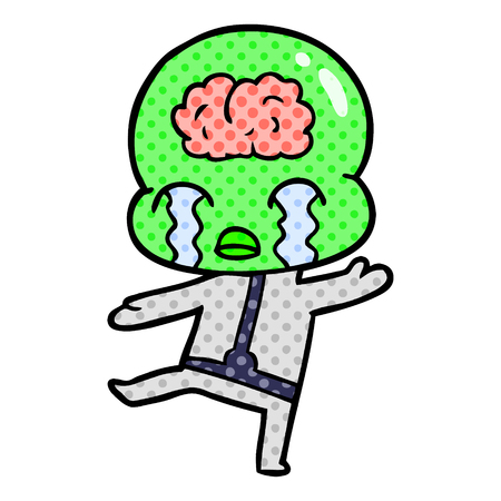 Cartoon big brain alien crying 스톡 콘텐츠 - 95595718
