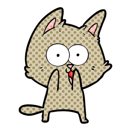 Funny cartoon cat licking paws