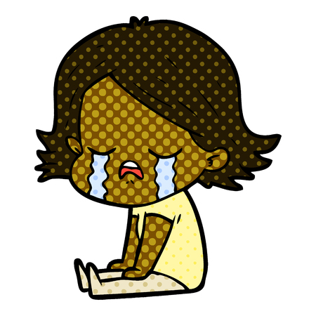 Cartoon girl crying sat on floor