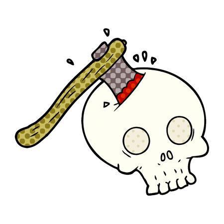 頭蓋骨ベクトルイラストの漫画斧。