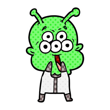 happy cartoon alien gasping in surprise Vector illustration. Banco de Imagens - 95593032