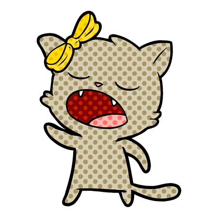 cartoon cat meowing Vector illustration.