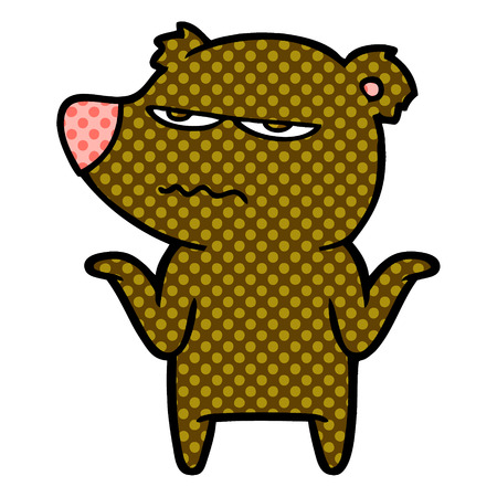 annoyed bear cartoon  Vector illustration.