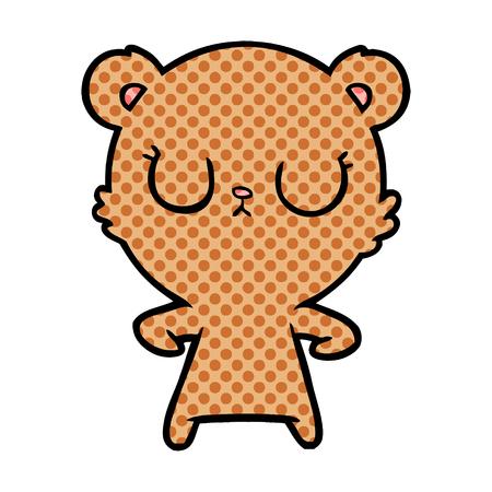 peaceful cartoon bear cub  Vector illustration.