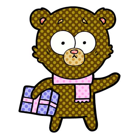 nervous christmas bear cartoon  Vector illustration. Ilustração