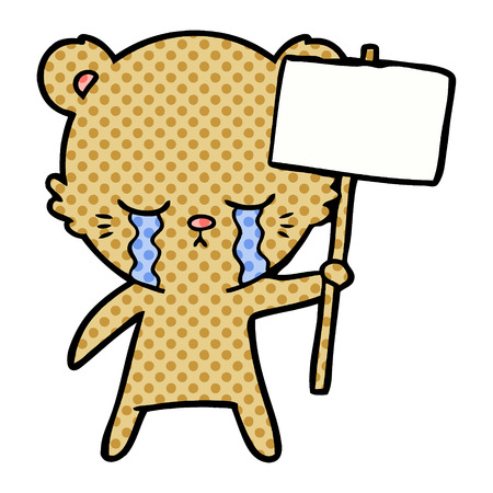 crying cartoon bear with sign post  Vector illustration.