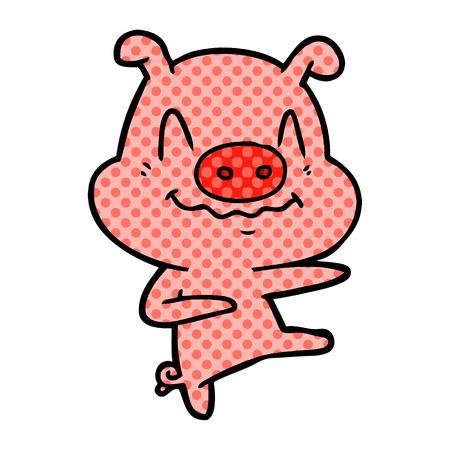 Nervous cartoon pig dancing illustration on white background.