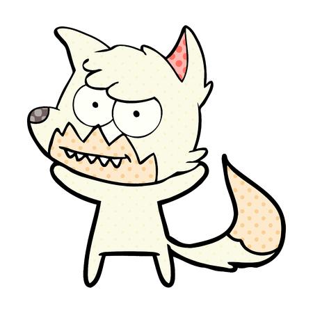 cartoon grinning fox  Vector illustration. Illustration