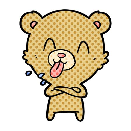 rude cartoon bear  Vector illustration. Иллюстрация
