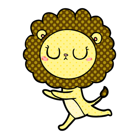 Cartoon running lion illustration on white background.