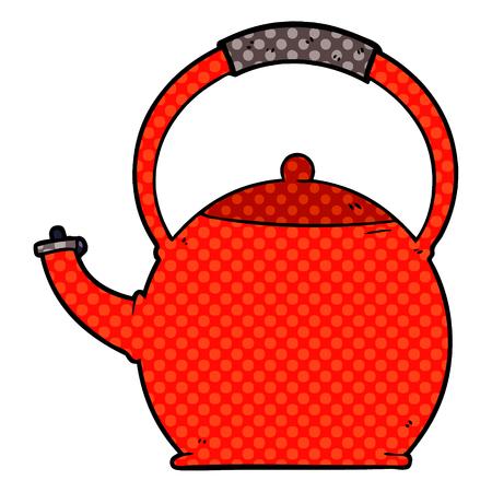 Cartoon kettle illustration on white background. 일러스트