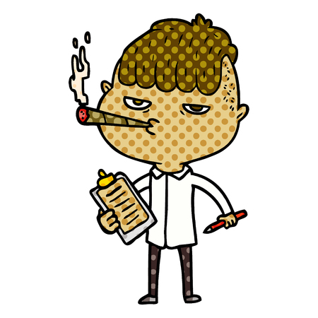 cartoon salesman smoking  Vector illustration. Illusztráció