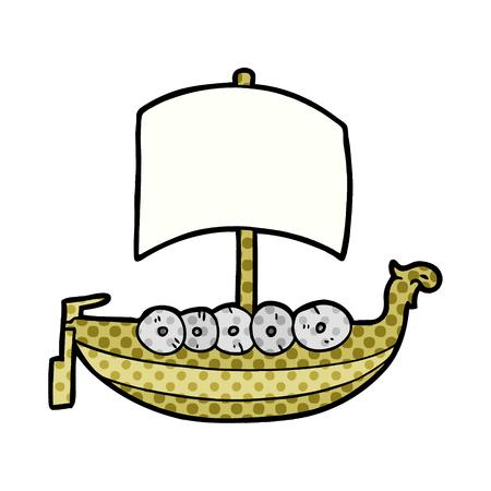 cartoon viking boat  Vector illustration.