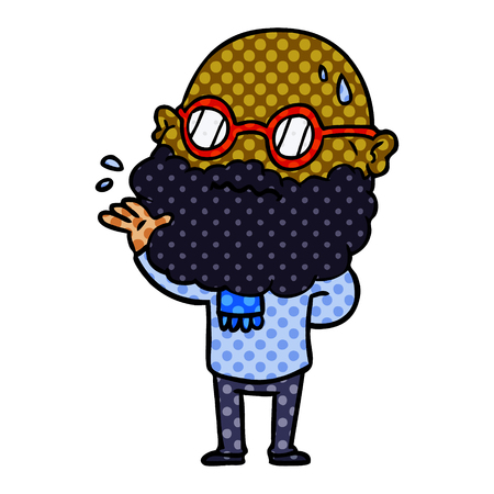 Cartoon worried man with beard and spectacles illustration on white background. Banque d'images - 95630337