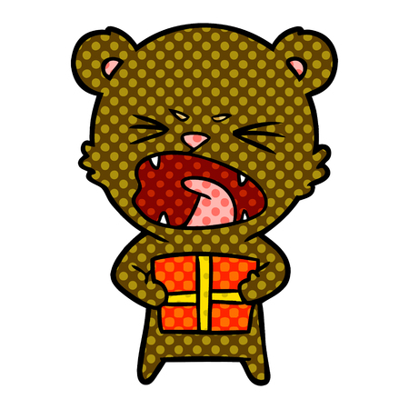 Angry cartoon bear with present illustration on white background.