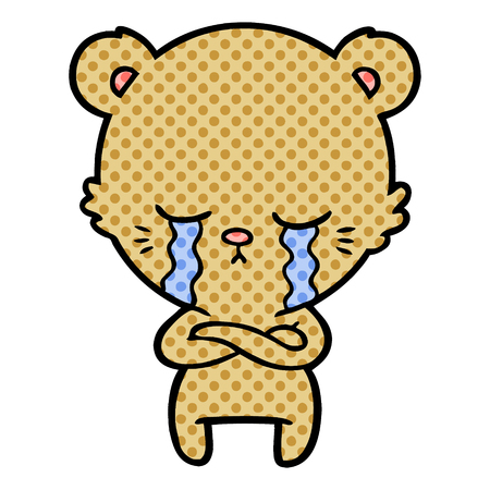 crying cartoon bear with folded arms  Vector illustration.