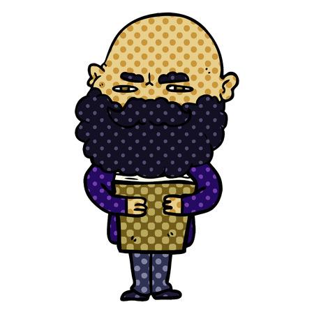 cartoon man with beard frowning  Vector illustration.