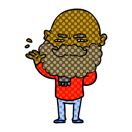 cartoon dismissive man with beard frowning