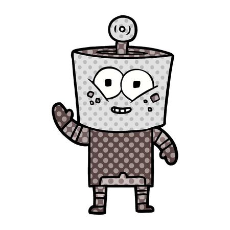 happy cartoon robot waving hello  Vector illustration.