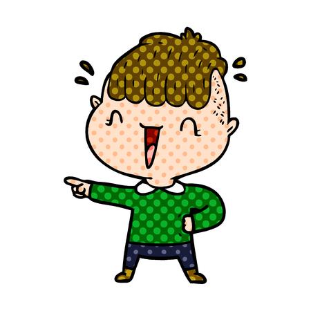 cartoon happy boy surprised Vector illustration.