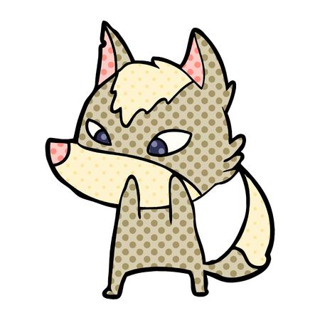 恥ずかしがり屋の漫画オオカミベクトルイラスト。  イラスト・ベクター素材
