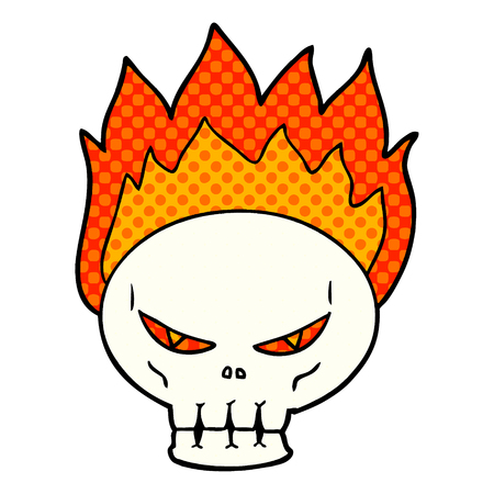 cartoon flaming skull Vector illustration. Çizim