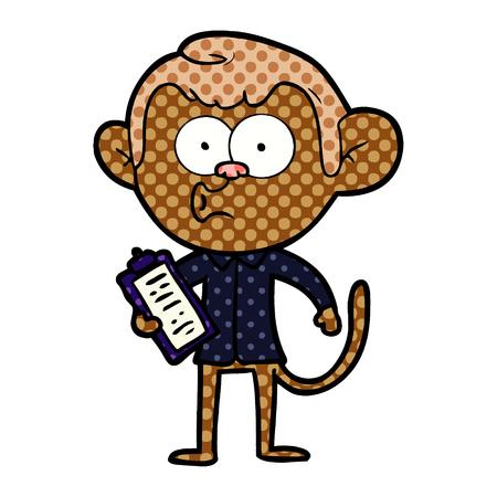 cartoon salesman monkey Vector illustration.