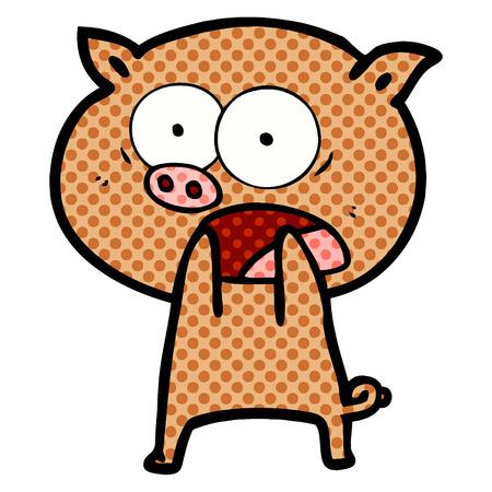 漫画の豚はベクトルのイラストを叫ぶ。  イラスト・ベクター素材