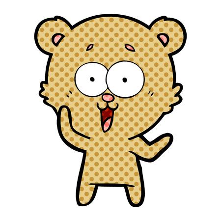 Laughing teddy bear cartoon illustration on white background.