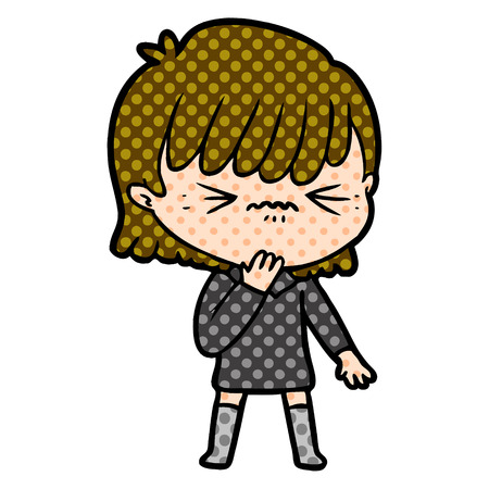 cartoon girl regretting a mistake Vector illustration. 矢量图像
